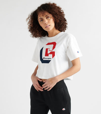 Champion  Shadow Logo Crop Tee  White - WL956G549984-045 | Jimmy Jazz