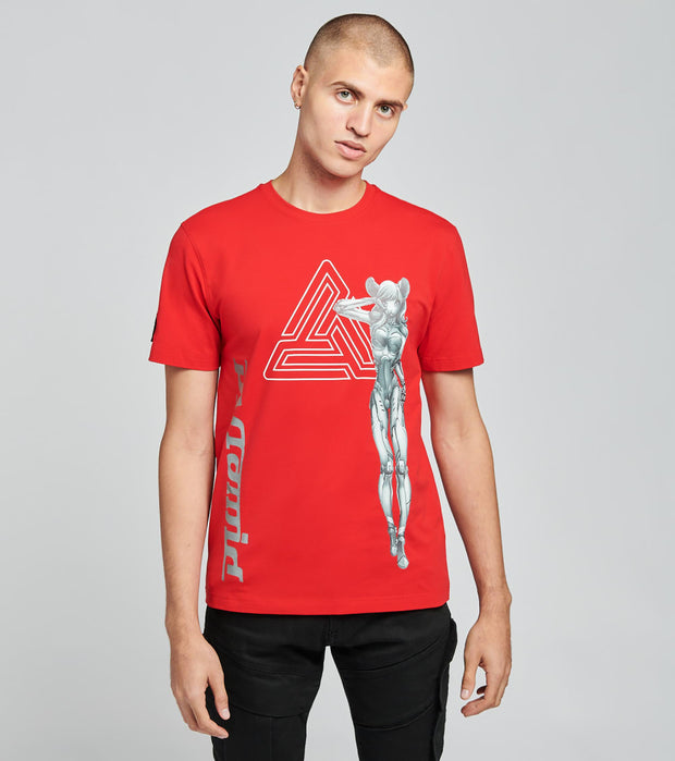 Black Pyramid  Cyborg Cat Short Sleeve Tee  Red - Y1162484-RED | Jimmy Jazz