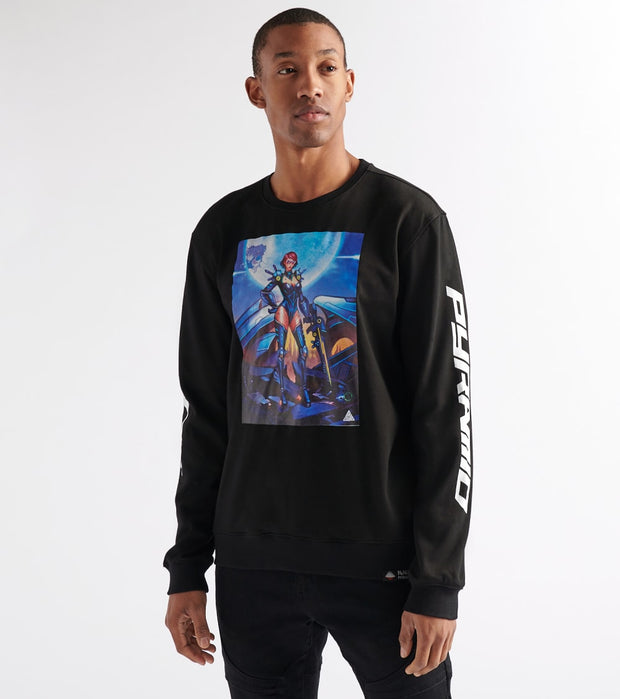 Black Pyramid  Moongirl Fleece Crew  Black - Y5162233-BLK | Jimmy Jazz