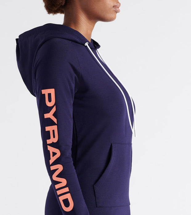 Black Pyramid  Total Coverage Hoodie Dress  Navy - YWB870136-NMB | Jimmy Jazz