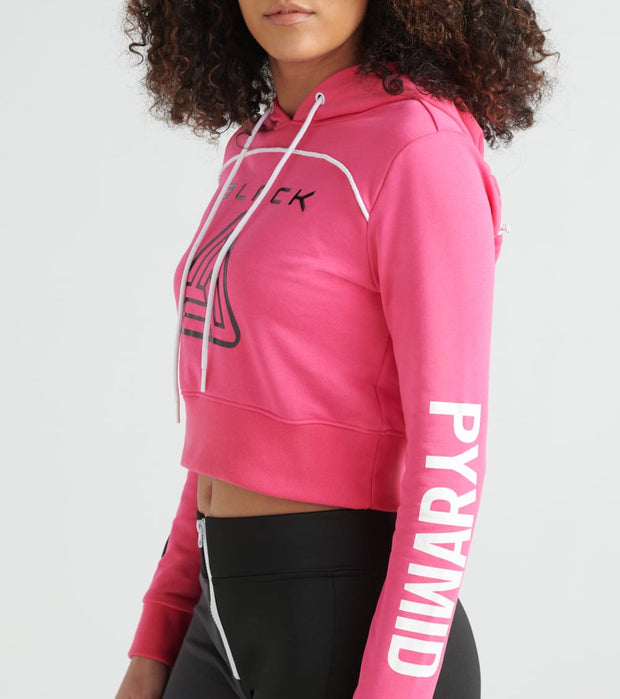 Black Pyramid  Zip Back Cropped Pyramid Logo Hoody  Pink - YWC870161-PNK | Jimmy Jazz