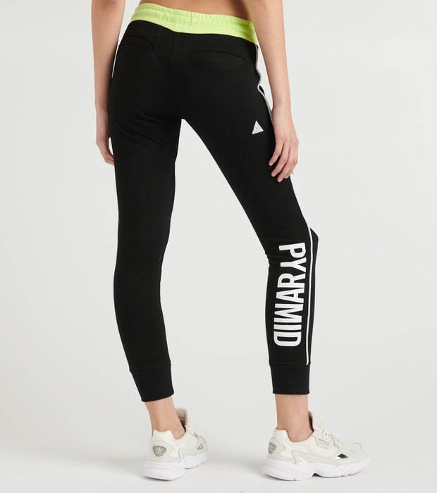 Black Pyramid  Contrast Piping Jogger  Black - YWG870151-BLK | Jimmy Jazz
