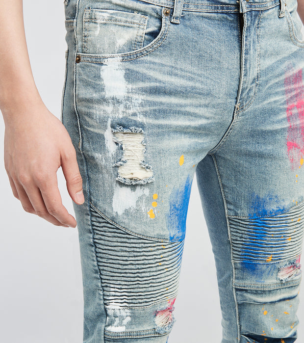 RNR KD Jeans with Moto Ribs n Paint L34