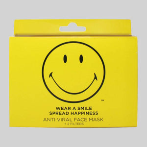 Original Smiley Brand Reusable Anti Viral Face Mask - with 2 Certified Filters (3 Pcs Set) - Yellow Smiley - FOXBOXSTORES