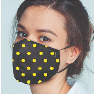 Original Smiley Brand Reusable Anti Viral Face Mask - with 2 Certified Filters (3 Pcs Set)- Black AOP - FOXBOXSTORES