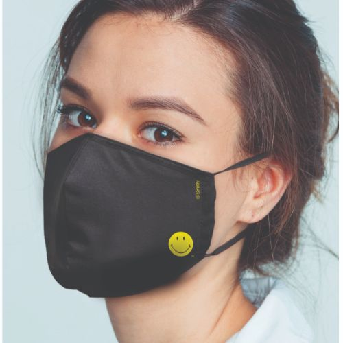 Original Smiley Brand Reusable Anti Viral Face Mask - with 2 Certified Filters (3 Pcs Set) - Black Solid