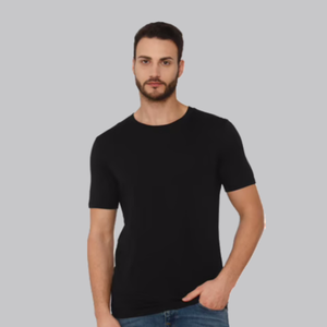 Load image into Gallery viewer, Bio Wash Plain Round Neck Black T-shirt Set of 3 - FOXBOXSTORES
