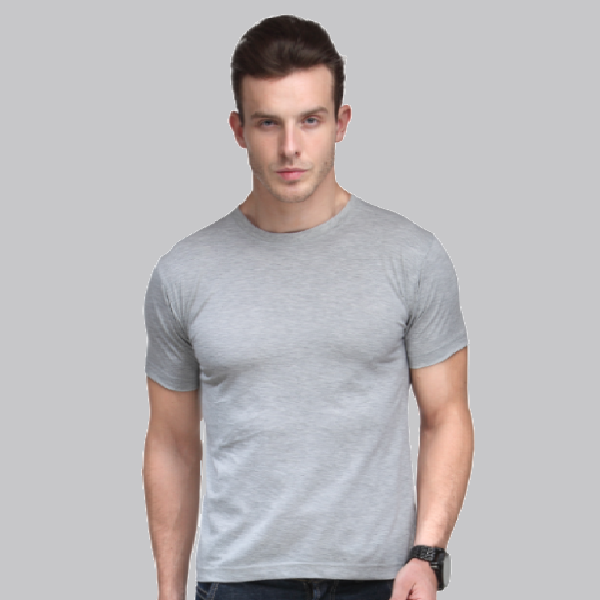 Bio Wash Plain Round Neck Grey T-shirt Set of 3