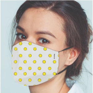 Original Smiley Brand Reusable Anti Viral Face Mask - with 2 Certified Filters (3 Pcs Set) - White AOP - FOXBOXSTORES