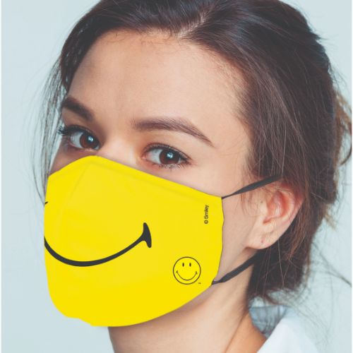 Original Smiley Brand Reusable Anti Viral Face Mask - with 2 Certified Filters (3 Pcs Set) - Yellow Smiley