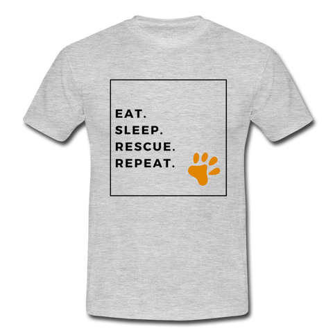 """EAT, SLEEP, RESCUE, REPEAT"" Dog Rescue Lovers Comfy T-shirt - heather grey"