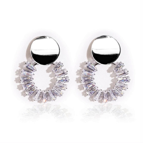 Circular Crystals Drop Earrings