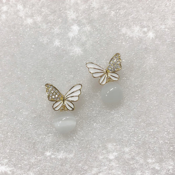 Moonstones Butterfly Earrings