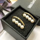 Straight Pearl Curve Earrings