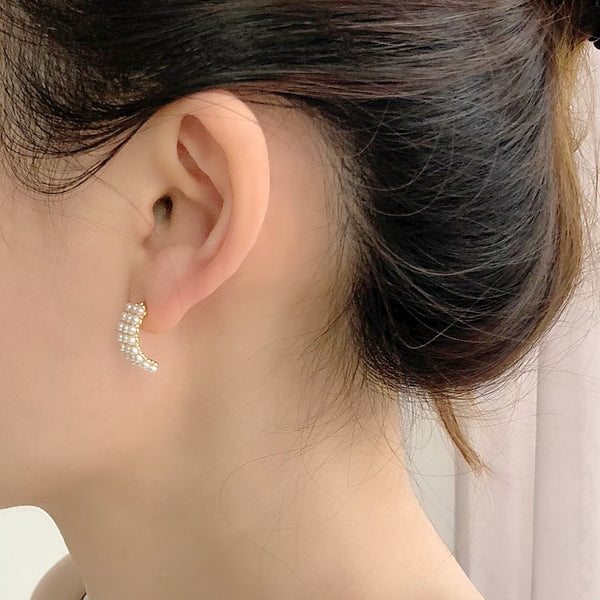 Audrey White Mini-Pearls Earrings