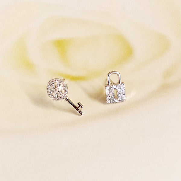 Audrey Petite Key and Padlock Earrings