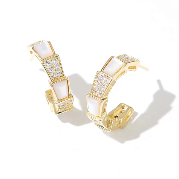 Audrey Mother of Pearl Cuff Earrings