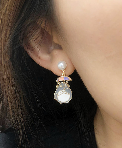Totoro Asymmetrical Earrings