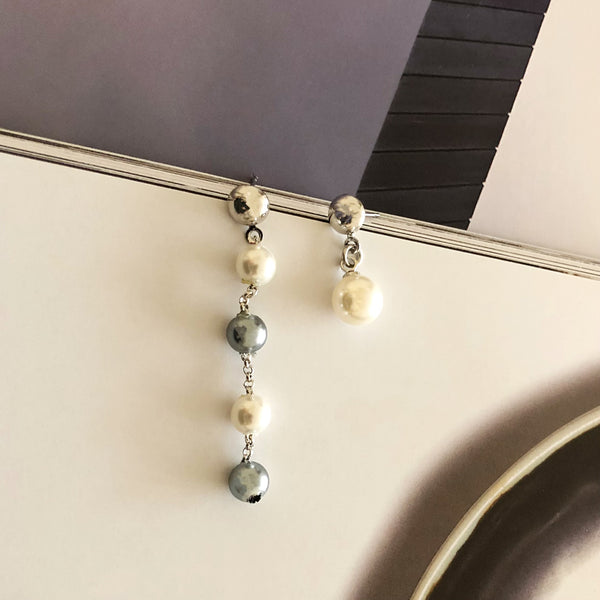 Asymmetrical Pearls Drop Earrings