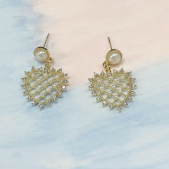 Artemis Netted Heart-shaped Earrings