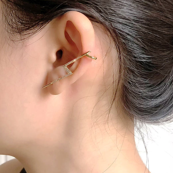 Audrey Asymmetrical Lightning Bolt Cuff Earrings
