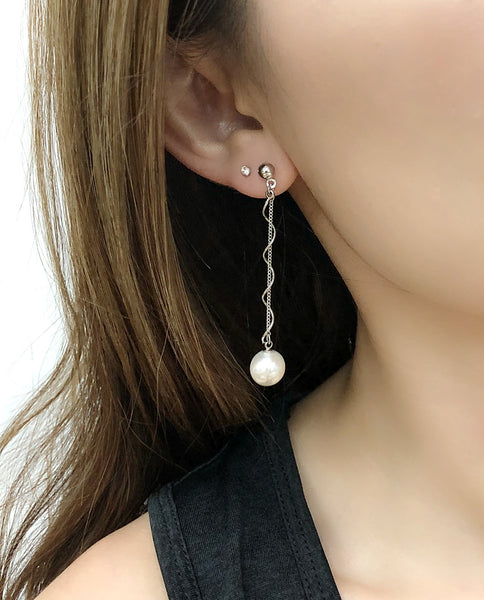 Dangling Spiral Pearl Earrings
