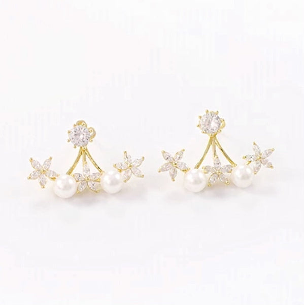 Audrey Pearl & Floral Detachable Earrings