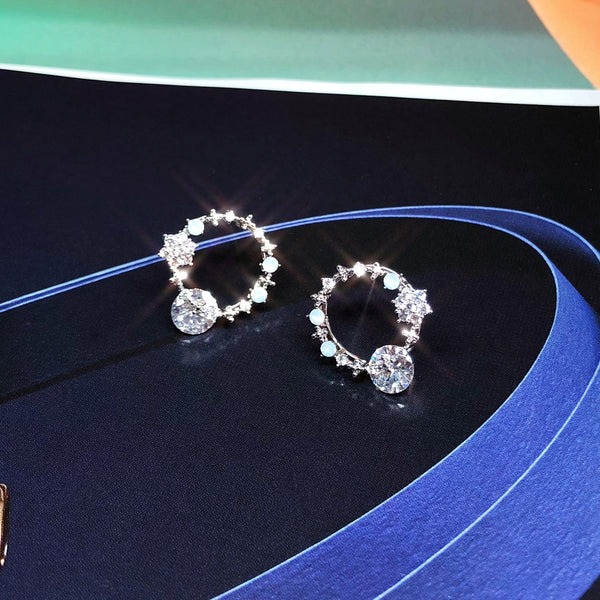 Audrey Sparkling Solitaire Circle Earrings