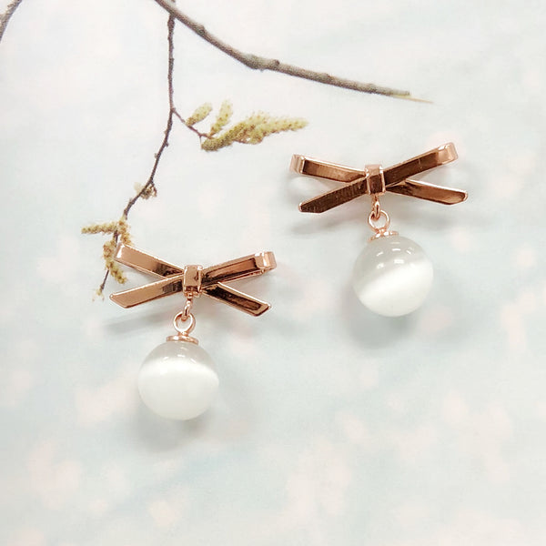 Crossed Ribbon Moonstone Earrings