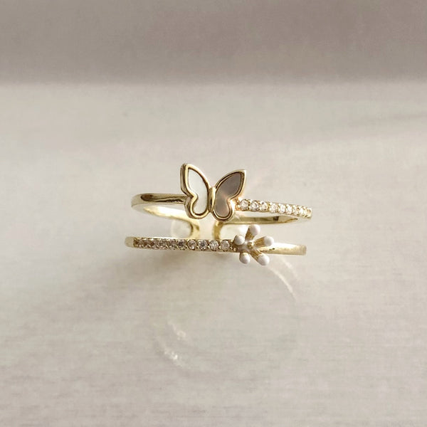 Audrey Garden Butterfly and Flower Ring