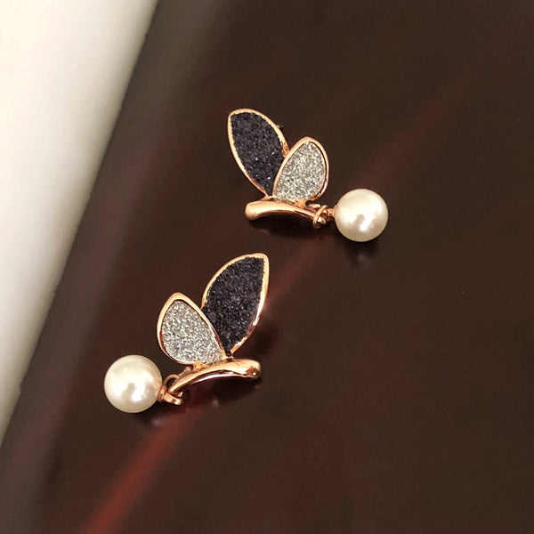 Butterfly Pearl Drop Earrings