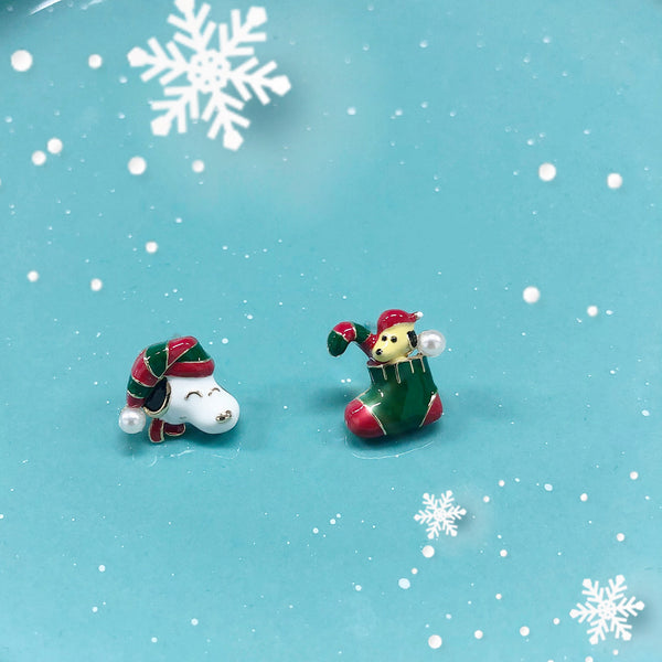 Christmas Edition - Snoopy Woodstock Santa Earrings