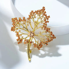 Golden Maple Leaf Brooch
