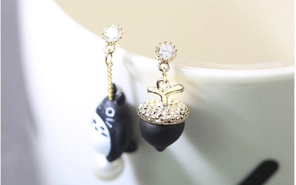 Totoro & Nut Earrings