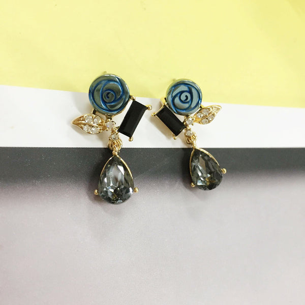 Crafted Rose Dangling Earrings