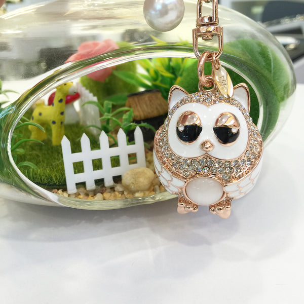 Snow Owl Bag Charm