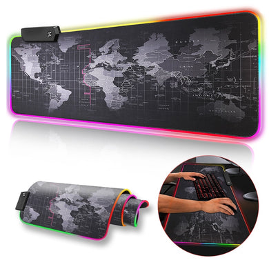 Premium XL Extended LED Mouse Pad - World Map Texture