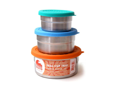Blue Water Bento Seal cup trio set