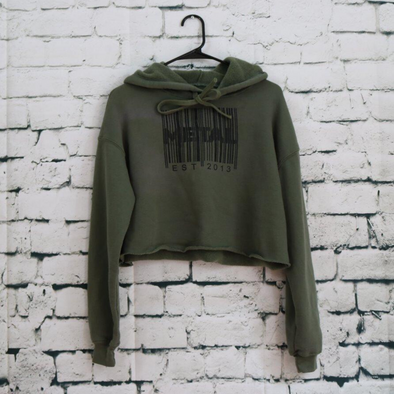 Metal Barcode Military Fleece Crop Hoodie