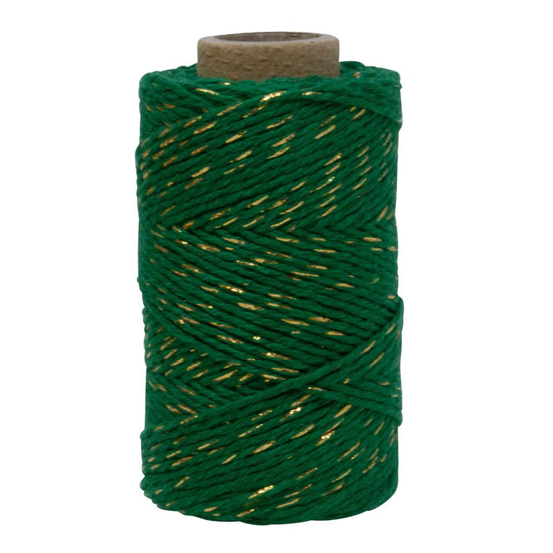 Dark Green & Gold Sparkle No.6 Cotton Craft Twine