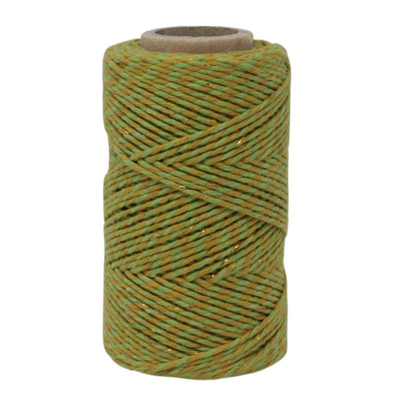 Lime Green, Lemon & Gold Sparkle No.6 Cotton Craft Twine