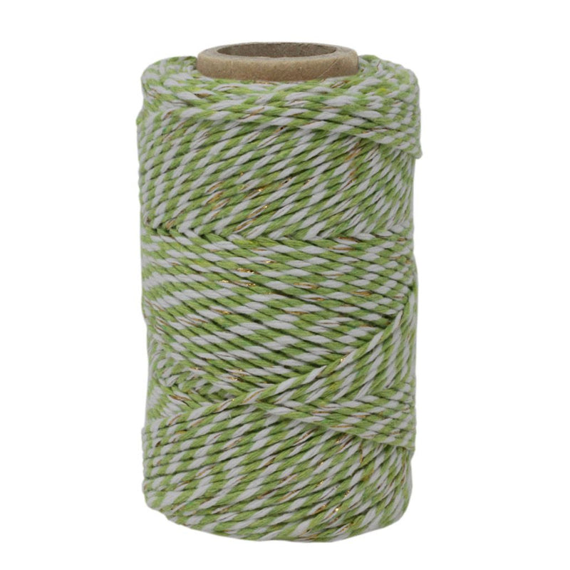 Lime Green, White & Gold Sparkle No.6 Cotton Craft Twine