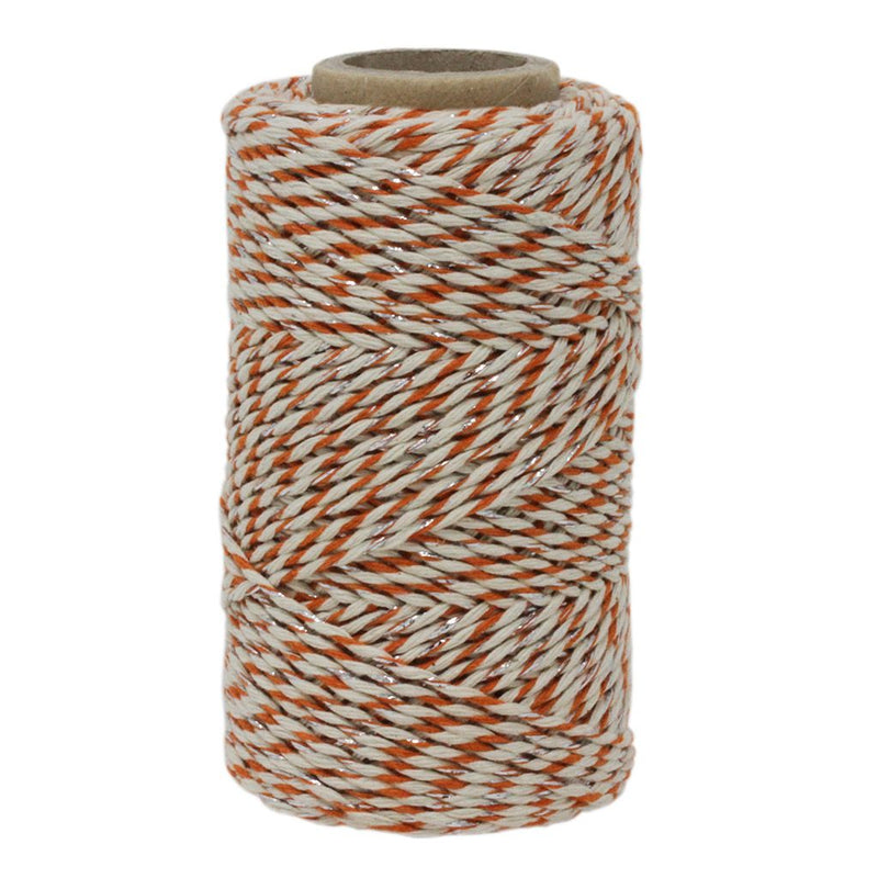 Orange, White & Silver Sparkle No.6 Cotton Bakers Twine
