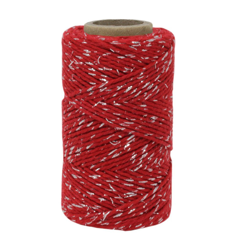 Red & Silver Sparkle No.6 Cotton Craft Twine