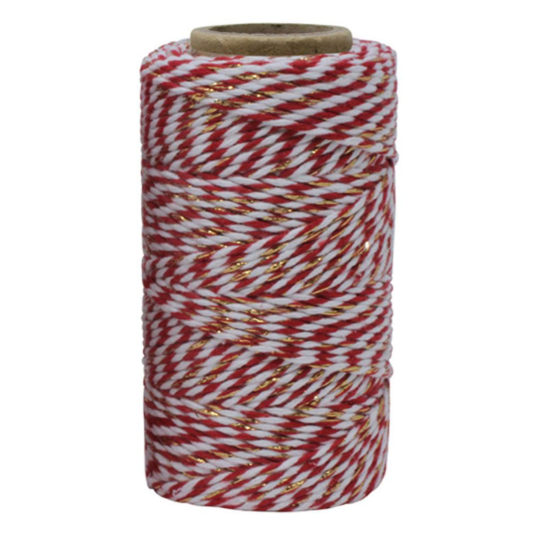 Red, White & Gold Sparkle No.6 Cotton Bakers Twine