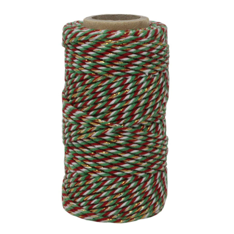 Red, White, Green & Gold Sparkle No.6 Cotton Craft Twine