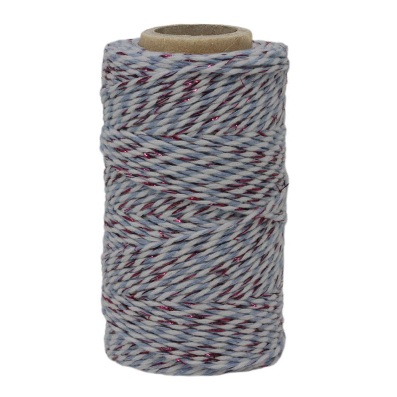 Sky Blue, White & Pink Sparkle No.6 Cotton Bakers Twine