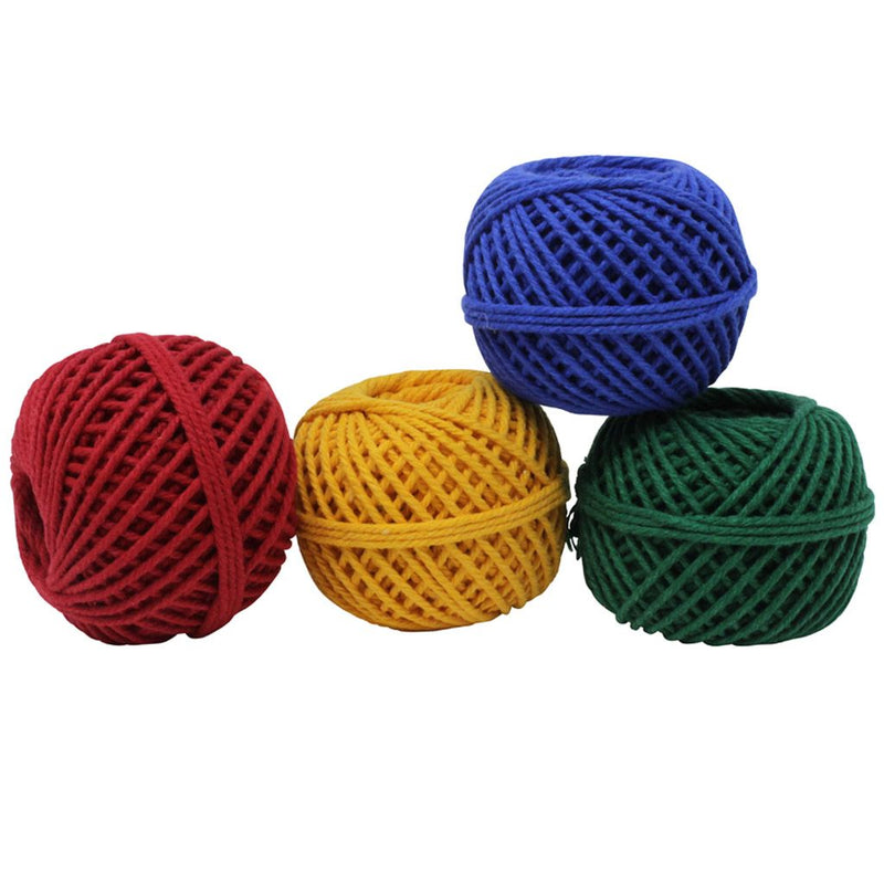 Solid Coloured 50m Cotton Twine Balls - Set of 4