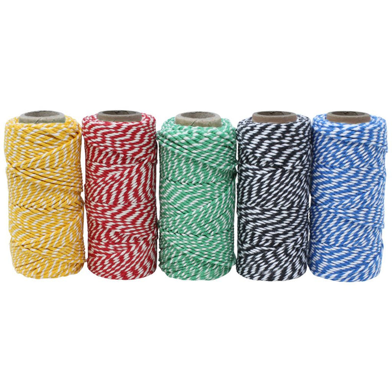 Two-Tone Coloured No.6 Cotton Craft Twine - Set of 5