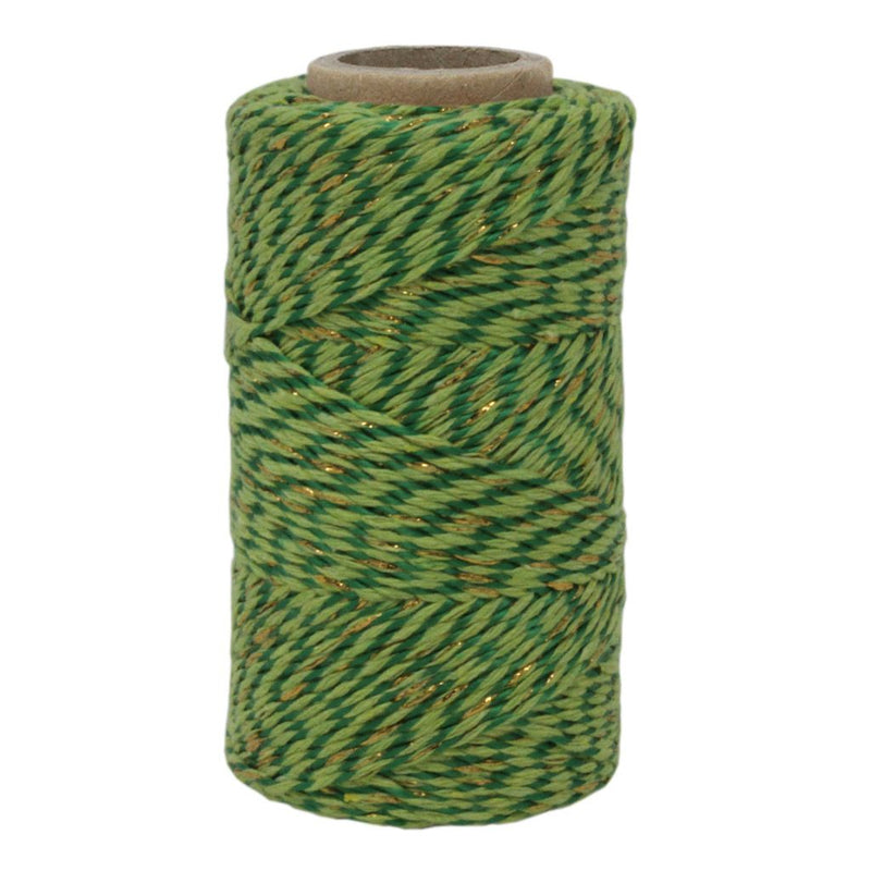 Two Tone Green & Gold Sparkle No.6 Cotton Bakers Twine